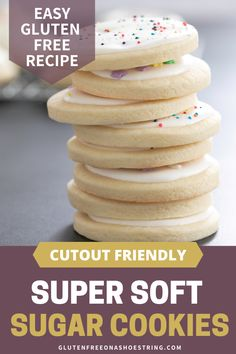 The best super soft sugar cookies out there!! These sweet treats are perfect for the holidays and are cutout friendly. They'll hold any shape you like! Best of all this recipe is gluten free and easy to make. No chilling required!! Top with a thick, sugar cookie butter cream frosting for the perfect creation!! Frosting recipe included! #christmascookies #cutoutcookies #glutenfreecookies #sugarcookies Soft Frosted Sugar Cookies, Sugar Cookie Frosting, Cookie Butter, Cream Frosting, Gluten Free Bagels, Gluten Free Cookies, Gluten Free Christmas Recipes, Gluten Free Recipes, Peanut Butter Desserts