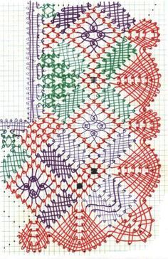 diagram red=tctc green = tc purple = ctc This may be copied for personal use, but not for commercial use. Bobbin Lacemaking, Types Of Lace, Bobbin Lace Patterns, Lace Heart, Tatting Lace, Needle Lace, Flower Applique, Lace Making, Lace Flowers