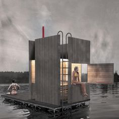 a floating sauna in seattle designed by goCstudio's and financed thru kickstarter crowdfunding. The floating sauna in Seattle will be afloat this summer Architecture Design, Floating Architecture, Seattle Architecture, Architecture Graphics, Sauna House, Tyni House, Saunas, Mini Sauna, Living Pool