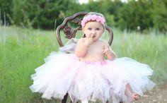 Beautiful Light Pink Shabby Chic Flower Long Tutu Skirt by AverysCoutureLook