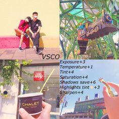 《紅吱吱の色調教學》 APP:VSCO ♡這個色調偏紅~用在陽光下或是色彩鮮明的場景很適合喲!但我個人認為用在人物會太濃(如左上)當然、看情況啦 ☆我的調色如下: --- Exposure曝光+3 Temperature色溫+1 Tint色調+4 Saturation飽和度+4 Shadows save陰影補償+6 Highlights tint高亮色調淡黃色+3 Sharpen銳化+4 --- ♥︎現在都有在調色教學下方新增了一個hashtag #filter_i_use 讓大家更方便看色調喲!vsco操作教學也一併加入在hashtag裡了喲 --- #vsco#vscocam#filter_i_use