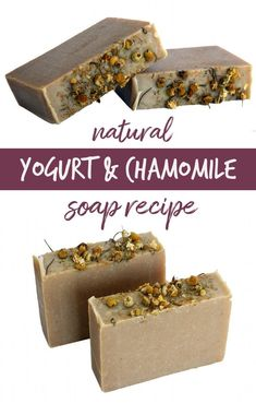 Yogurt soap recipe with herbal chamomile flowers for your natural skin care routine this winter. This all natural homemade yogurt soap recipe is handcrafted using the cold process soapmaking method. Made from a combination of real Greek yogurt, lavender & chamomile flower powders, and moisturizing blend of body butters, this DIY yogurt soap is the perfect treat for dry skin! How to make a moisturizing soap recipe as a dry skin remedy for dry winter skin as part of your natural beauty regimen.