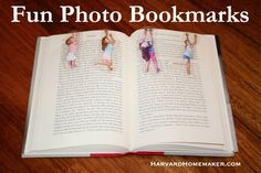 Fun Photo Bookmarks with Kids Hanging On, magnetic too. From harvardhomemaker.com