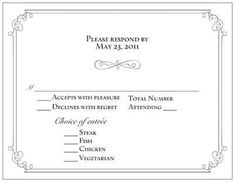 RSVP Card With Menu Options | Weddings, Etiquette And Advice | Wedding  Forums | WeddingWire