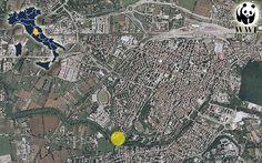 """L'ubicaone del Parco Fluviale Ecologico Urbano - """"Giardino Didattico"""" del fiume Nera."""