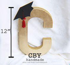 GOLD cardboard graduation monogram letter; graduation party decorations; graduation party supplies by CraftedByYudi on Etsy