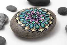 "Spring Colours Mandala Stone | Hand painted with ""I Love You"" and hearts on the back 