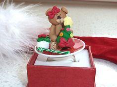 Kawaii Ring  Miniature Bear holding a by OishisoBitsAndBites, $14.00