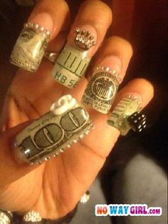 Ghetto nails gotta have had some close to it Fabulous Nails, Gorgeous Nails, Ghetto Fabulous, Dope Nails, Nails On Fleek, Coffin Nails, Acrylic Nails, Ratchet Nails, Ghetto Nails