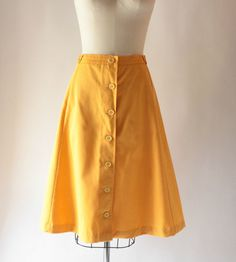 1970s yellow aline button down skirt by SchoolofVintage on Etsy, $16.00