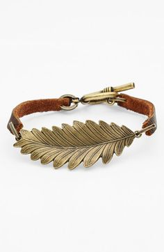 leaf and leather bracelet!  great option to add to your stack!