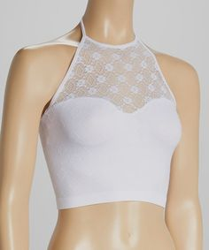 Another great find on #zulily! White Lace Halter Crop Top - Women #zulilyfinds