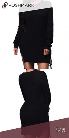 Knit Lace up Side Long Sleeve Sweater Dress New Dresses