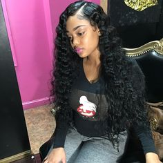 Shela hair Bundles With Lace Frontal Brazilian Deep Wave Human Hair Weave With Frontal My Hairstyle, Wig Hairstyles, Love Hair, Gorgeous Hair, Curly Hair Styles, Natural Hair Styles, Natural Beauty, Hair Laid, About Hair