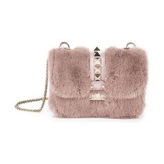 Rocklock small mink fur & leather shoulder bag by Valentino. Plush mink fur lends luxe look to studded shoulder bagChain shoulder strapPush-lock flap closureG...
