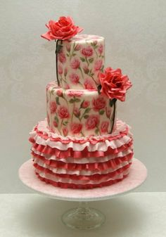 Hand-Painted Roses with Ruffles Cake