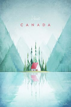 Vintage travel poster illustration of Canada by Henry Rivers of Travel Poster Co. Vintage travel poster illustration of Canada by Henry Rivers of Travel Poster Co. City Poster, A4 Poster, Kunst Poster, Poster Prints, Posters Decor, Posters Canada, Plakat Design, Affinity Designer, Travel Illustration