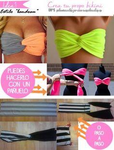 3 ideas para hacer tu propio bikini y que no parezca un DIY (Diy Ropa Vestidos) Sewing Dress, Diy Dress, Robe Diy, Diy Fashion, Fashion Tips, Fashion Trends, Diy Kleidung, Diy Vetement, Diy Mode