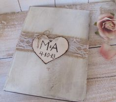 Wedding Guest Book - Bridal Shower Guest Book - Shabby Chic - Personalized on Etsy, $24.99