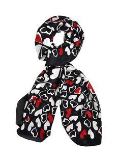 Diane Von Furstenberg Heart-print silk-chiffon scarf