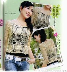 Crochê Gráficos: Blusa de crochê japonesa