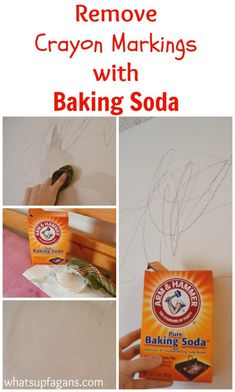 Great tutorial on how to use baking soda to remove crayon from walls. Plus, some other helpful methods to try, and whether they work or not. Awesome post!   whatsupfagans.com