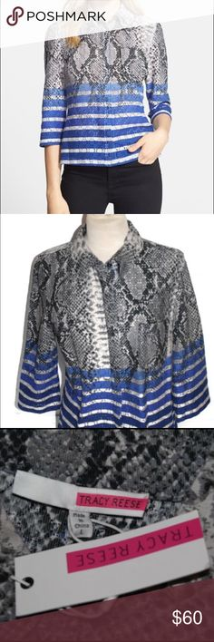 Tracy Reese Python Stripe 3/4 Shirt NWT Beautiful button down shirt by Tracy Reese with 3/4 length sleeves. 70% cotton / 30% nylon blend. Brand new with tags! Tracy Reese Tops Button Down Shirts