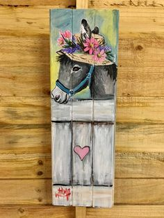 Spring donkey pallet painting, tole painting, painting tips, painting on wood, watercolor Tole Painting, Painting On Wood, Watercolor Paintings, Pallet Painting, Painting Tips, Cow Art, Horse Art, Donkey Drawing, Canvas Art Projects