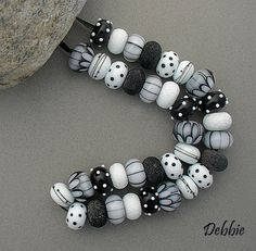 "Evening Affair ~ Handmade Organic Lampwork Glass Set of 35 (made to order) Beads in Classic Black + White ~ size approx .40"" - .45"" by debbiesanders of DSG Beads ~ Etsy"