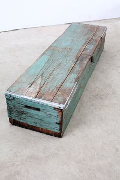 Antique Wood Tool Box / Long Wood Trunk