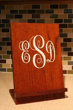 Monogrammed Handcrafted Wooden iPad/Tablet Recipe Stand on Etsy, $30.00