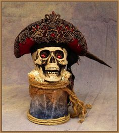 Pirate Skull LED Jar Lamp/Night-LightRTSRed or Black