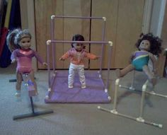 Made to Fit American girl doll gymnastics beam, bars, and mat set- McKenna
