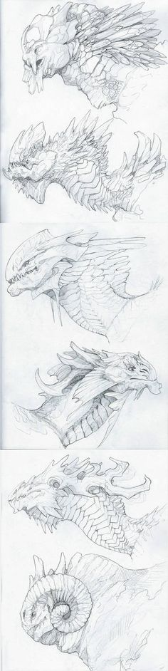 Here I have saved various dragon head drawings. These are bigger built dragons that live in different conditions. Some of these I could adapt to underground conditions. Creature Concept Art, Creature Design, Creation Art, Monster Design, Dragon Art, Dragon Head Drawing, Dragon Horns, Dragon Drawings, Dragon Sketch