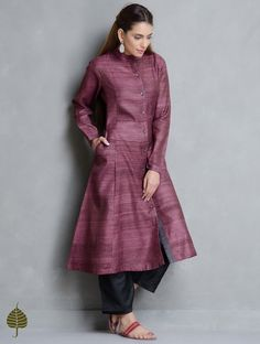 Burgundy Tussar Gicha Kurta with Pockets by Jaypore Dress Neck Designs, Designs For Dresses, Blouse Designs, Plain Kurti Designs, Silk Kurti Designs, Latest Kurta Designs, Kurta Designs Women, Kalamkari Dresses, Kurti Embroidery Design