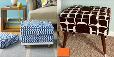 I bet I could DIY the ottoman on the left with an IKEA Lack table, casters and outdoor cushions. Diy Footstool, Diy Ottoman, Ottoman Ideas, Black Ottoman, Diy Furniture Renovation, Diy Furniture Decor, Furniture Making, Painted Furniture, Recover Couch