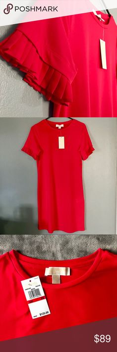 """NWT Michael Kors """"True Red"""" Dress Michael Kors Midi Dress with ruffled ends on the sleeves. Sure to make any woman feel beautifully sophisticated and well put together! Defiantly can be a staple piece in any wardrobe🌺 95% polyester  5% elastane MICHAEL Michael Kors Dresses Midi"""