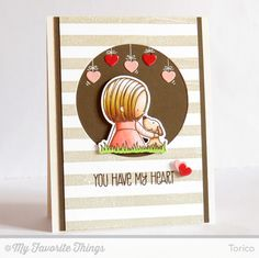 STAMPARADISE: Today I'd like to share another card using my new stamp set, You Have My Heart.  My card base is Insulation Pink. I stamped the Striped Background onto a piece of white CS in Natural dye ink. I trimmed it off, cut out a circle window, and backed it with Chocolate Brown CS. The sentiment was stamped with Hot Fudge Hybrid ink.