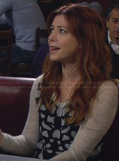 Lily�s black sweater with shapes on How I Met Your Mother.  Outfit Details: http://wornontv.net/23263/ #HowIMetYourMother