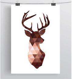 Tête de cerf en cuivre imprimer Brown Deer Triangle par PrintAvenue