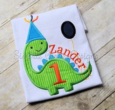 Dinosaur applique birthday shirt. Custom by SimplieGirlieDesigns