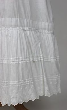 Antique White Cotton Petticoat Underskirt Floral Embroidery and Tucks | www.SarahElizabethGallery.com