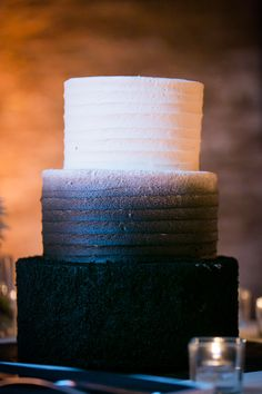 Ombre black cake. West Town Bakery. Photography: Ann & Kam Photography & Cinema - annkam.com  Read More: http://www.stylemepretty.com/illinois-weddings/chicago/2013/12/26/fultons-on-the-river-wedding/