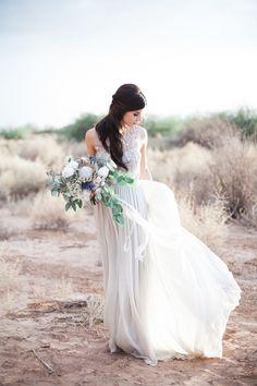 Alexandra Grecco wedding dress | Jenny Ostenson Photography | see more on: http://burnettsboards.com/2015/11/boho-chic-desert-wedding/