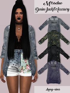 M1ssduo Denim Jacket Accessory22 Swatches Located in Bracelet Category Custom Catalog Thumbnails *Please not that it wont work with all tops since the uv it's in the extra space and sleeves Credits: to @ m1ssduo Download on my website