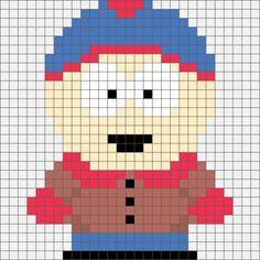 Four South Park Hama, Perler and Cross Stitch Designs. Beaded Cross Stitch, Crochet Cross, Cross Stitch Charts, Cross Stitch Designs, Cross Stitch Embroidery, Cross Stitch Patterns, Hama Beads Patterns, Beading Patterns, Bracelet Patterns
