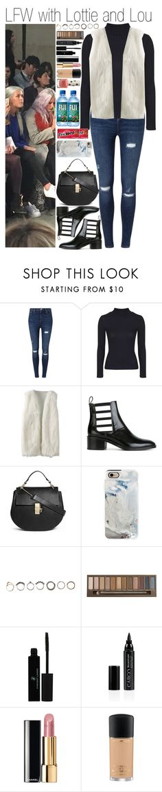 """• LFW with Lottie and Lou"" by dianasf ❤ liked on Polyvore featuring Miss Selfridge, Topshop, Each X Other, Chloé, Casetify, Iosselliani, Urban Decay, Vincent Longo, CARGO and Chanel"
