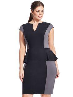 Colorblock Peplum Scuba Dress