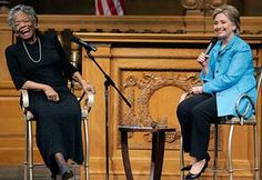 Maya Angelou in pictures: Hillary Clinton and Maya Angelou