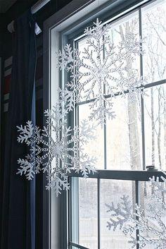 large plastic snowflakes